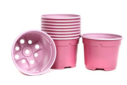 Pack of 20 x Plastic Lightweight Pink Plant Pots