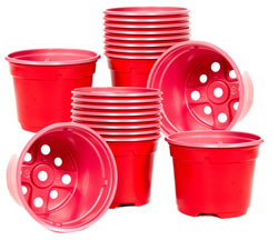 Pack of 20 x Plastic Lightweight Red Plant Pots