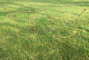 Set of 2 x Natural Rusted Peony Cage Supports 64cm - 3 Legs