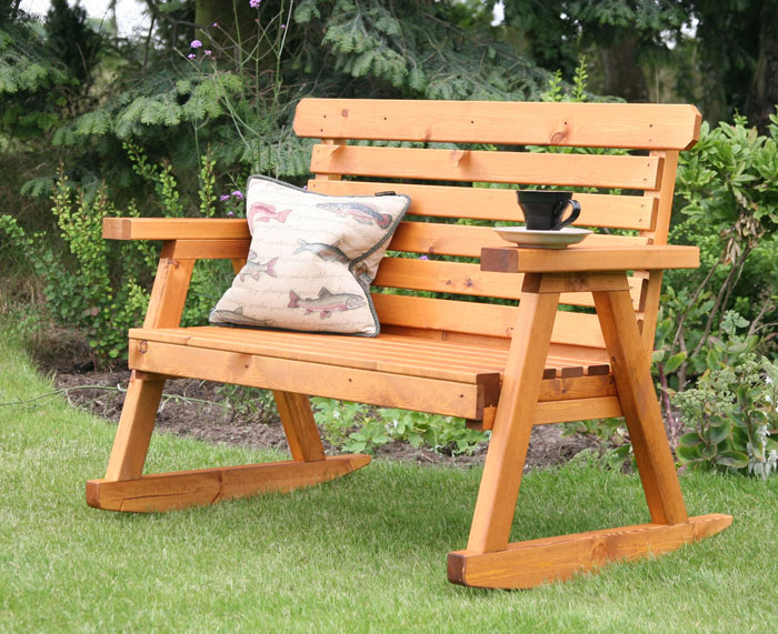 Uk garden supplies wooden rocking garden bench for Garden products catalog